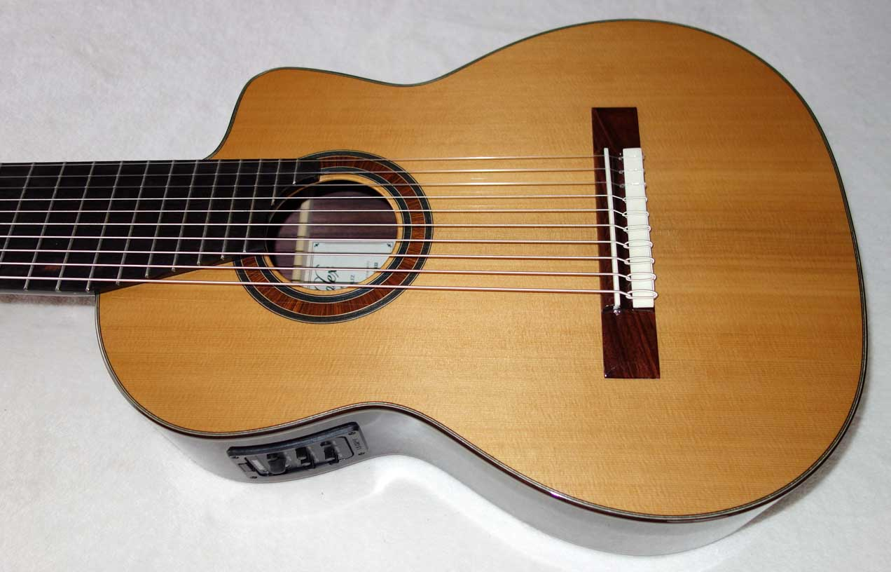 NEW Bartolex 10-String Classical Harp Guitar Model SLC10CEL -- Solid Cedar Top, Cutaway, Pickup, w/Hardshell Case